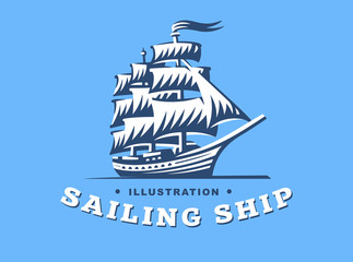 Sailing ship illustration on blue background