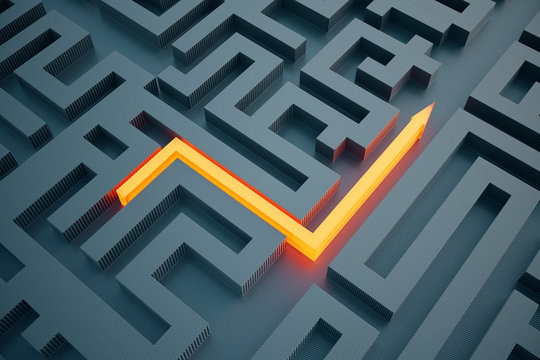 Orange arrow going through maze