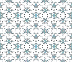 Abstract snowflakes in a seamless pattern. Vector illustration.