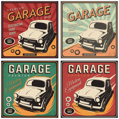 Vector illustration with the image of an old classic car, design logos, posters, banners, signage. Using vintage and grunge style. Retro illustration on the theme of service stations, tire service.