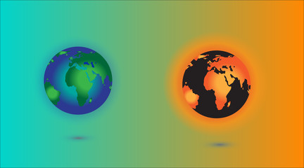 Global warming. This earth irradiation concept is an awesome depiction a worldwide energy disaster. Elements of this image furnished by NASA.Vector Illustration EPS10...