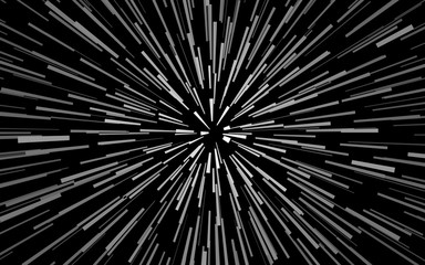 Radial white concentric particles on black background Zoom effect