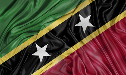 Saint Kitts and Nevis waving 3d flag