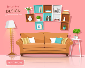 Living room interior design with couch, lamp and shelves. Funny style furniture set. Vector illustration.
