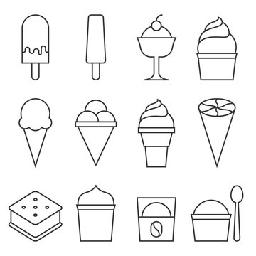 Set of Ice cream icon collection,lollipop, sandwich, cone, cup, affogato, thin line vector