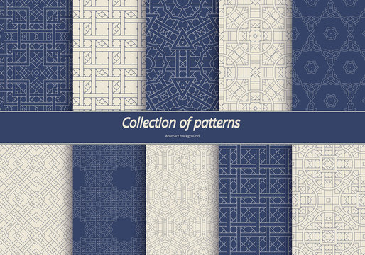 Set in an arabian style patterns. Seamless ethnic tracery. Geometric ornament in blue tones. Stylized arabesques decorating. Vector illustration.