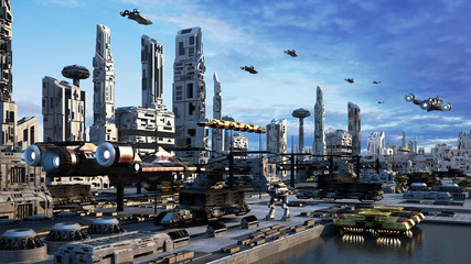 3D Scifi Cityscape transport airship from the future