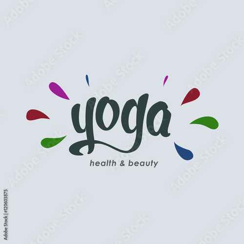 Quot yoga club logo concept and hand drawn lettering