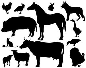 farm animals silhouette set