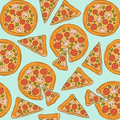 Pizza. Seamless Pattern. Vector illustration