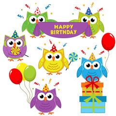set of isolated owl birthday - vector illustration, eps