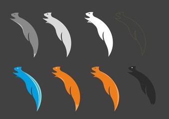 8 different color squirrels