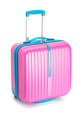 colorful suitcase on white background