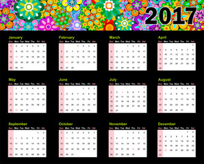 Calendario 2017 photos royalty free images graphics vectors year 2017 calendar top colorful flowers and sunday first united states of america publicscrutiny Choice Image