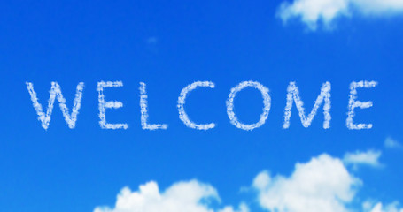 welcome cloud word on the blue sky