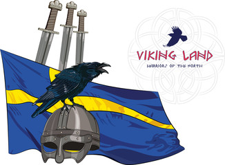 Black crow sitting on a Viking helmet, three swords on the background of the Sweden banner, vector illustration, eps-10