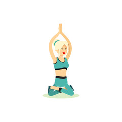 Girl posing pose yoga. Characters women exercises yoga, isolated on white background. People banner healthy lifestyle. Woman involved in sports, vector illustration