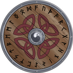 Round shield of the Viking is decorated with Scandinavian ornament and the runes, vector illustration, eps-10