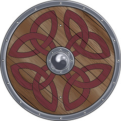 Round shield of the Viking is decorated with scandinavian ornaments, isolated on white, vector illustration, eps-10