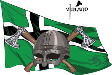 The helmet of a Viking crossed battle axes on the background of the flag of Vinland, vector illustration, eps-10