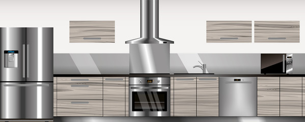 Vector modern kitchen