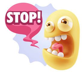 3d Illustration Angry Face Emoticon saying Stop with Colorful Sp
