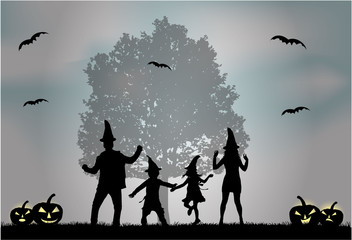 Halloween - silhouette of a family.