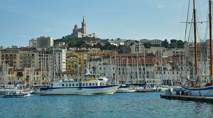 Basilica Notre Dame de la Garde and old port Marseille