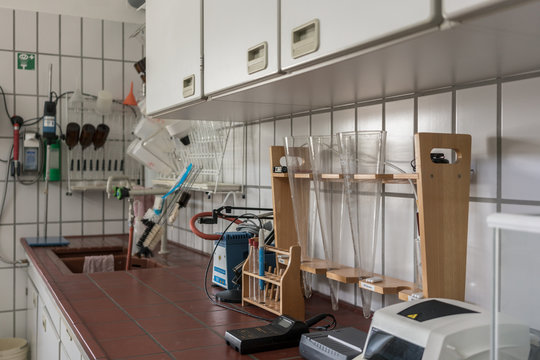 Laboratory in wastewater treatment plant with lab equipment