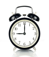 Alarm Clock isolated on white, in black and white, nine o'clock.
