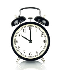 Alarm Clock isolated on white, in black and white, ten o'clock.