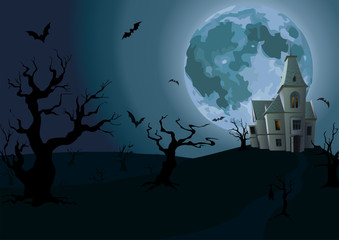 Halloween night: full moon, beautiful castle or chateau with lig
