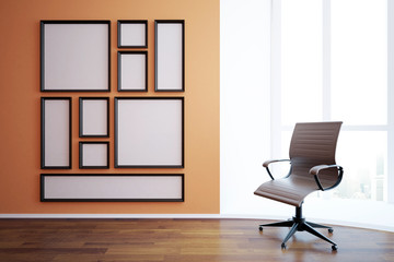 Blank frames and swivel chair