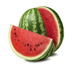 Watermelon cut slice isolated on white background as package design element