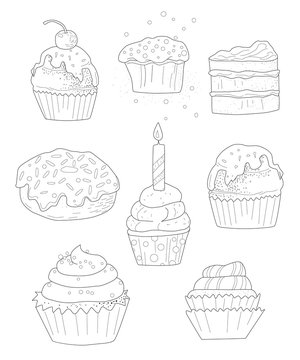 collection of cakes, Page coloring for adults, Outline vector illustration