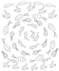set of fish Page coloring for adults, set of stylized fish placed in a circle, Anti stress Coloring Page. Outline vector illustration