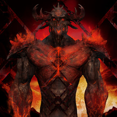 3D illustration of a devil torso art. Artwork of a muscle built hell monster with horns, fire elements, armor and spikes on flame inferno background.
