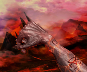 3D illustration of a passive position demonic hand. 3d first person view demonic hand with claws on a hellish landscape background.