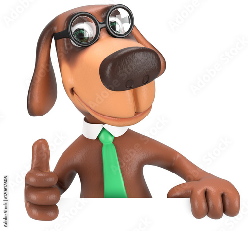 3d Hund Daumen hoch, gibt seine Zustimmung\