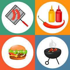 Oktoberfest barbecue party. Set of flat icons with grilled sausages, cheeseburger and sauces. Vector illustration