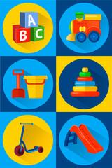 vector illustration toys for children icons flat