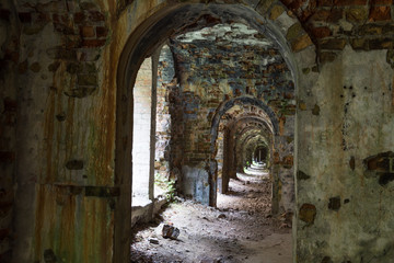 Aluminium Prints Ruins Ruins inside the fort Tarakanovskiy. Ukraine