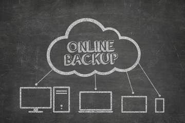 Online backup concept on blackboard
