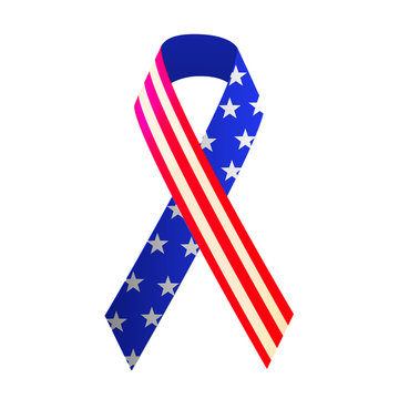 Patriotic red, white, and blue ribbon for 4th of July or Memorial Day. Vector illustration