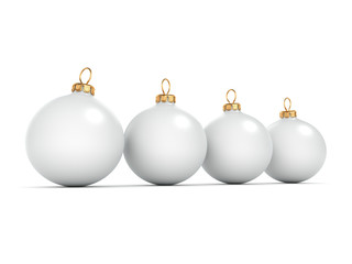 3D rendering White Christmas ball