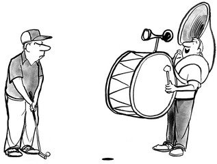 B&W illustration of golfer being distracted by one man band.