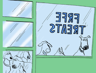 Color illustration of dogs looking in the window of a dog food store offering 'free treats'.