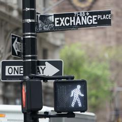Walk light and signs in Manhattan, New York City