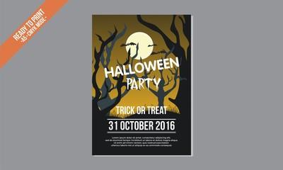dark yellow halloween poster vector