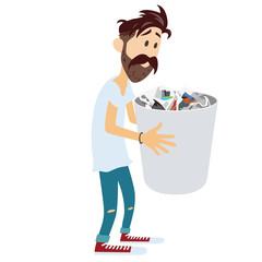 Man Holding Recycle Bin Vector Illustration